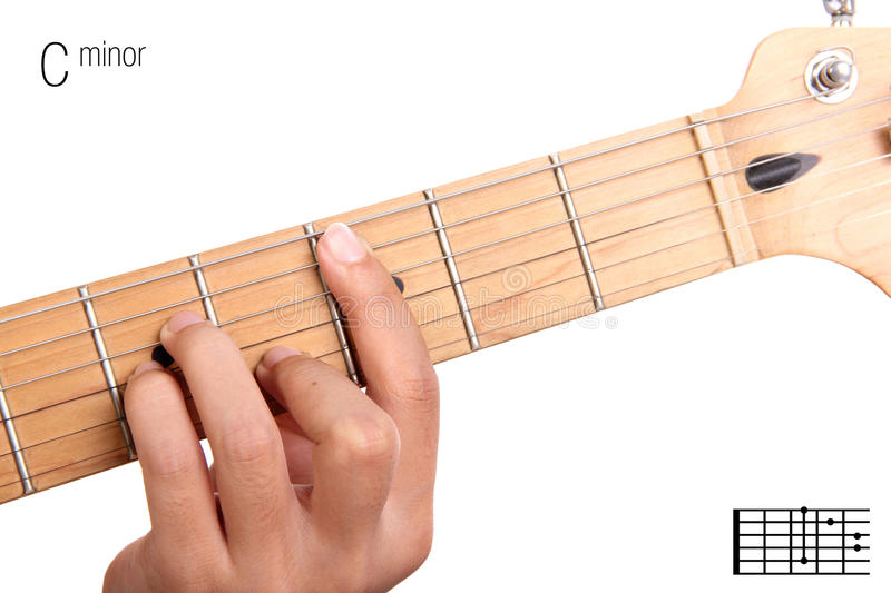 C Minor Guitar Chord Tutorial Stock Photo - Image of lesson, learn ...
