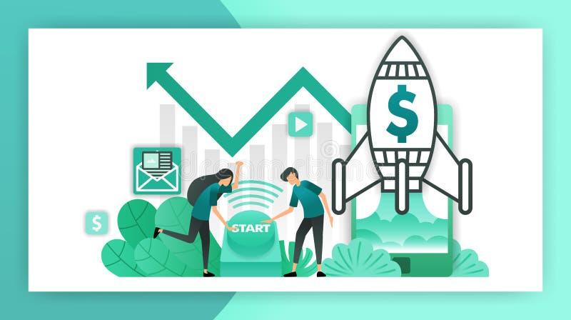 C?mo comenzar un negocio empresarios e inversores que empujan el botón para comenzar un negocio compañía de lanzamiento con el la stock de ilustración