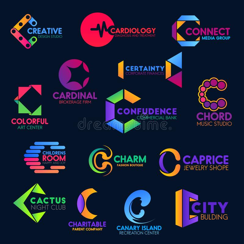 C modern geometric trendy corporate identity icons. Letter C icons, business company corporate identity abstract geometric design. Vector C symbols, creative royalty free illustration