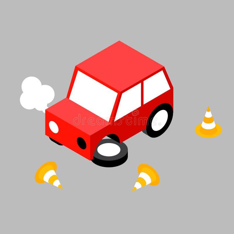 Cône d'accident de voiture illustration stock