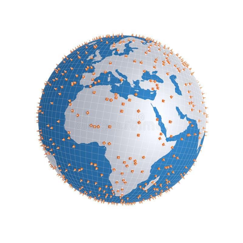 Cône 3d du trafic sur le globe illustration libre de droits