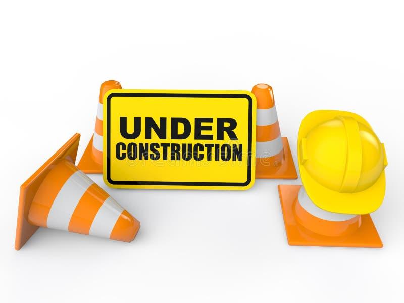 cônes 3d et signe en construction illustration de vecteur