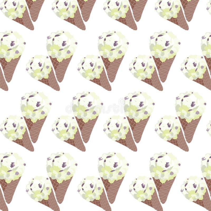 Cônes de gaufre de vanille de crème glacée de vecteur illustration libre de droits