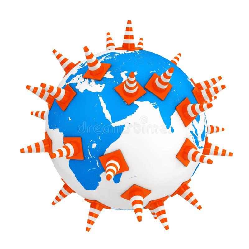 Cônes du trafic au-dessus de globe de la terre rendu 3d illustration de vecteur