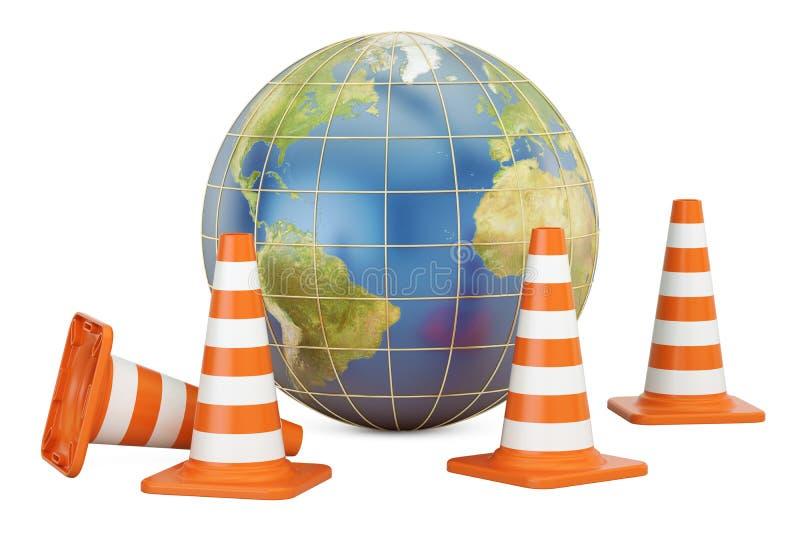 Cônes du trafic avec le globe de la terre, 3D illustration de vecteur