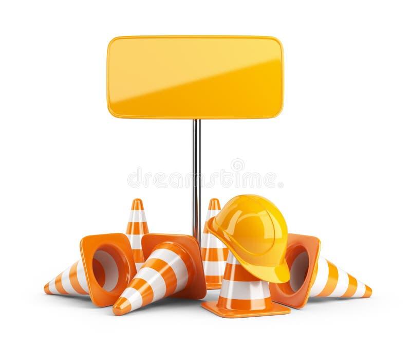 Cônes du trafic et casque antichoc. Panneau routier. d'isolement illustration stock