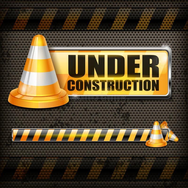 Cônes en construction de signe et de trafic illustration de vecteur