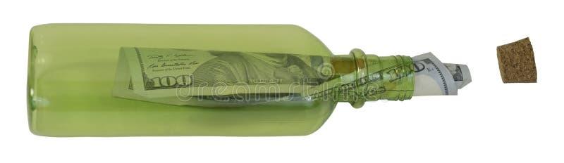 C-nota em uma garrafa fotos de stock royalty free
