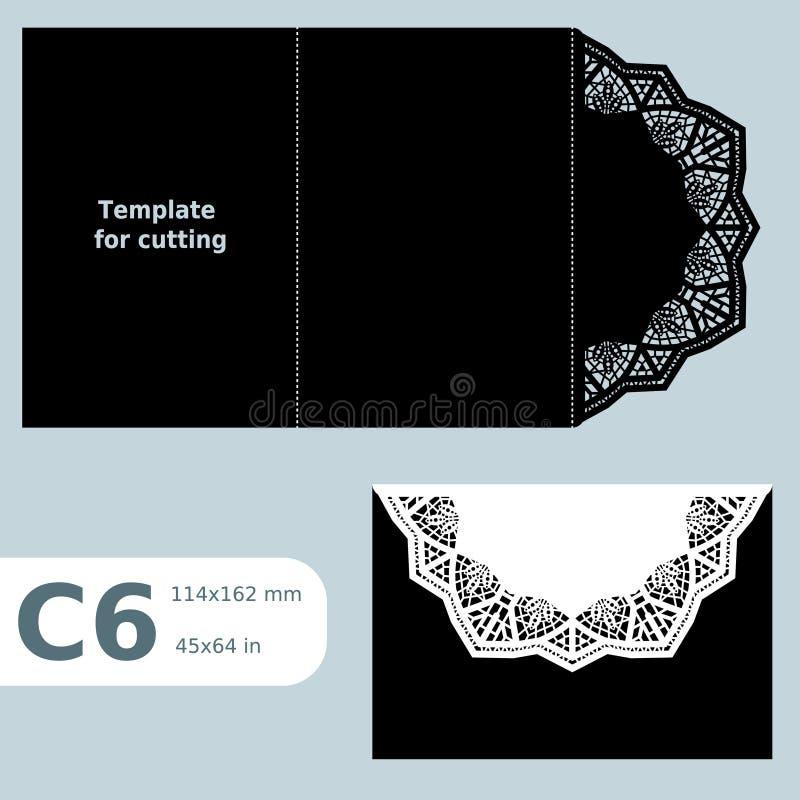 C6 o cartão a céu aberto de papel, molde para cortar, convite do laço, cartão com dobra alinha, fundo isolado objeto ilustração royalty free