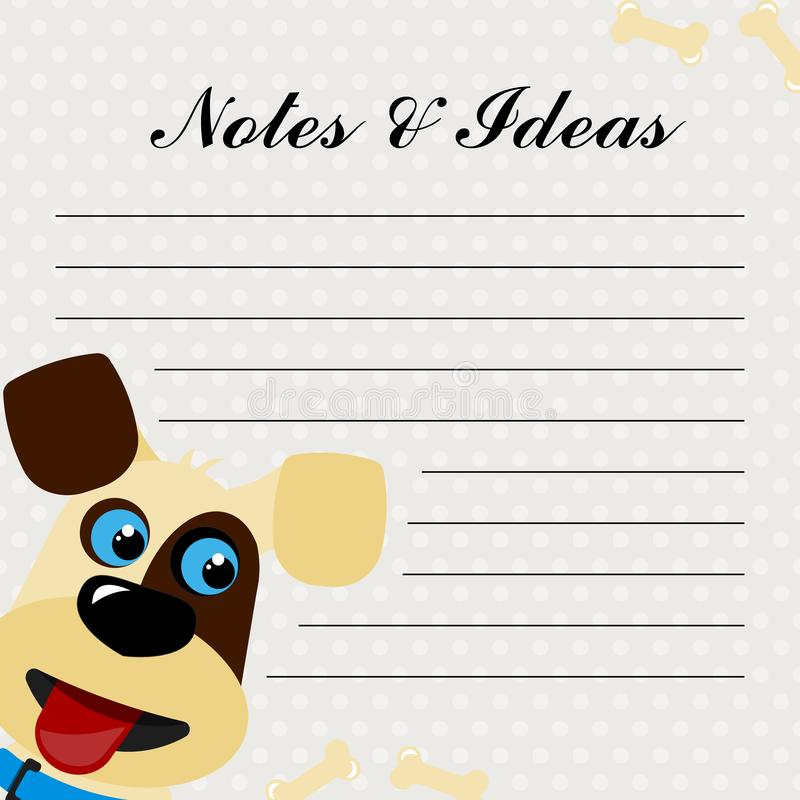 C?o de sorriso bonito Notas e ideias ilustração do vetor