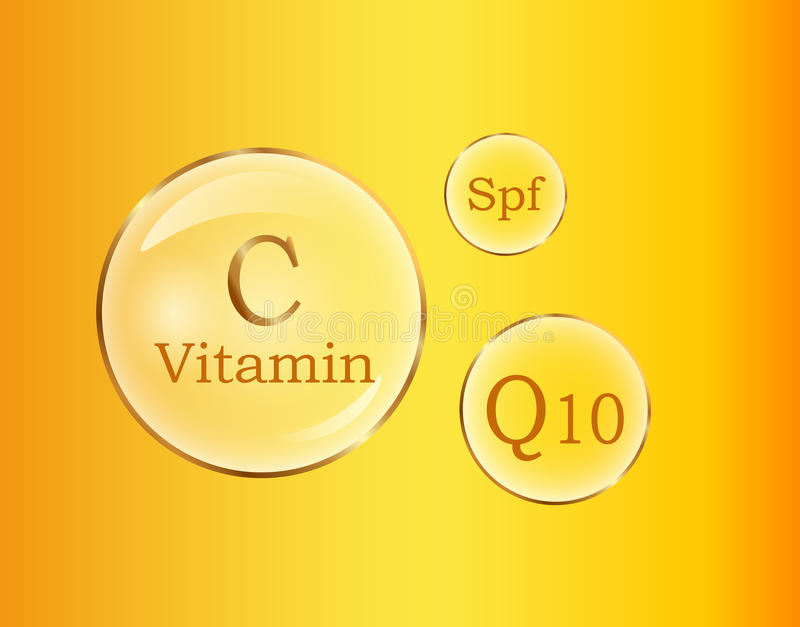 C och Q10 vitaminer, affisch för vektor för Spf-rundatecken stock illustrationer