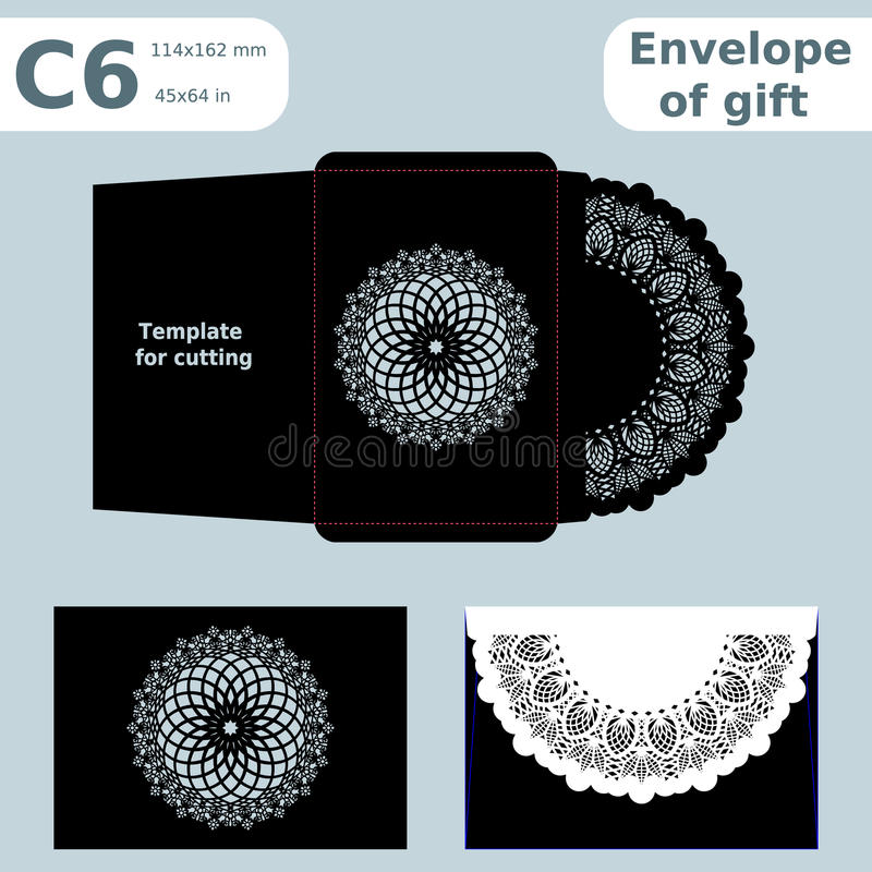 C6 openwork paper converter for romantic messages,template for cutting, lace pattern, envelope greetings, laser cutting template,. Presents packing, vector stock illustration