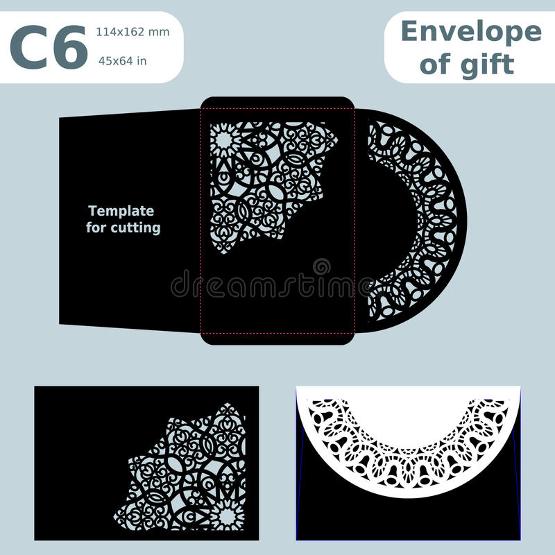 C6 openwork paper converter for romantic messages,template for cutting, lace pattern, envelope greetings, laser cutting template,. Presents packing, vector vector illustration