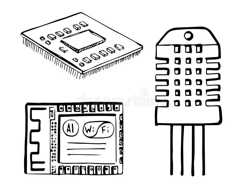 C.P.U., модуль Wi-Fi, электронный датчик изолированный на белой предпосылке Иллюстрация вектора в стиле эскиза иллюстрация вектора