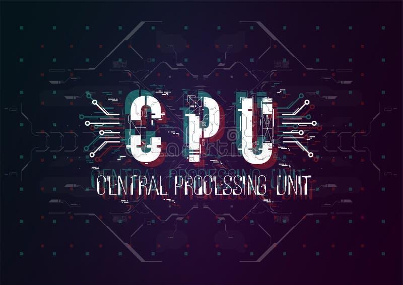 C.P.U. Схематический план с элементами HUD для печати и сети Литерность с футуристическими элементами пользовательского интерфейс стоковая фотография rf