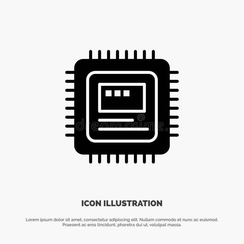C.P.U., хранение, компьютер, значок глифа оборудования твердый черный иллюстрация вектора