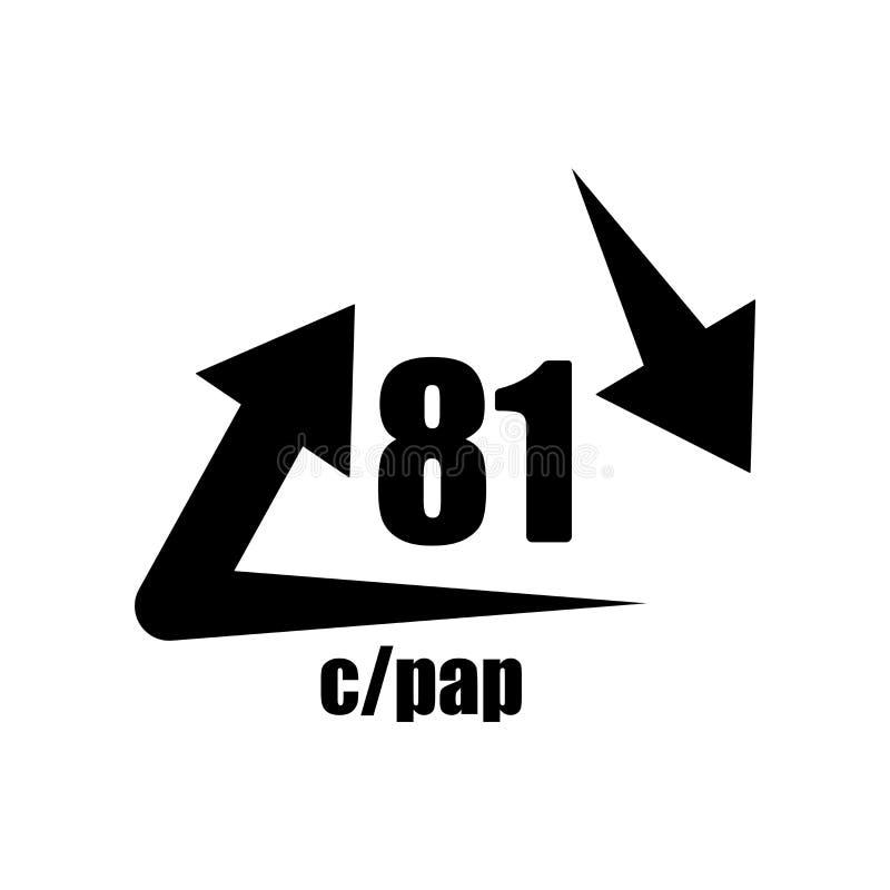 C/PAP 81在白色背景隔绝的象传染媒介,C/PAP 81标志 皇族释放例证