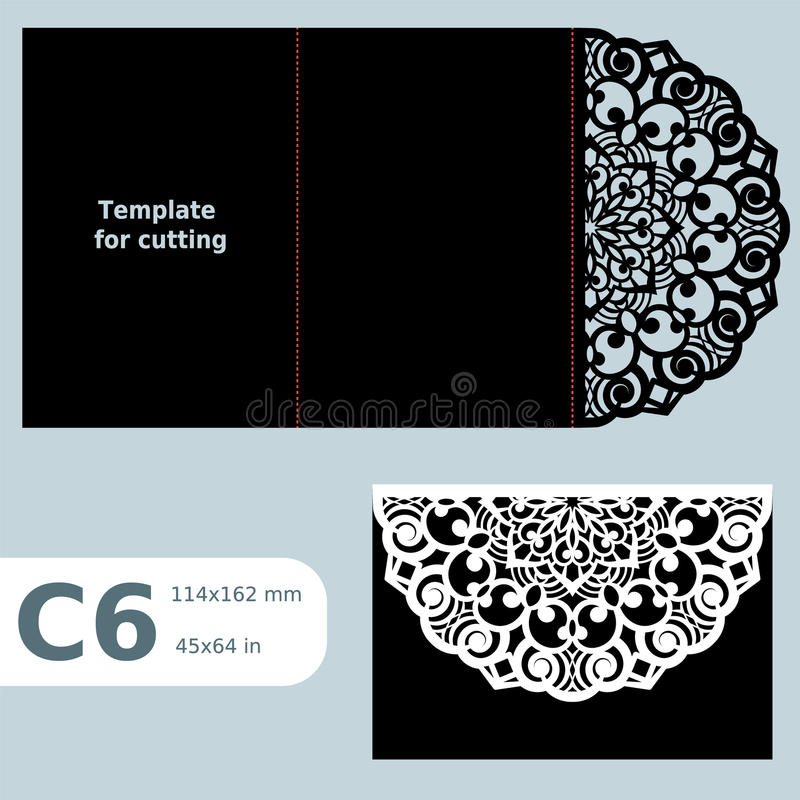C6 paper openwork greeting card, wedding invitation, template for cutting, lace invitation, card with fold lines, object isolated. Background, laser cut vector illustration