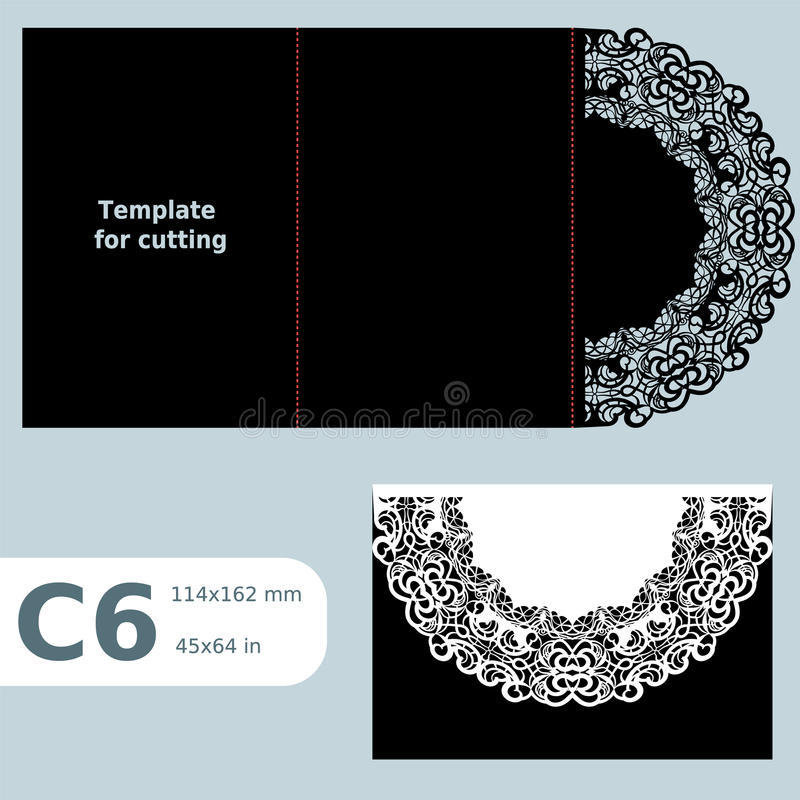 C6 papierowy openwork kartka z pozdrowieniami, ślubny zaproszenie, koronkowy zaproszenie, karta z fałd liniami, przedmiot odizolo royalty ilustracja
