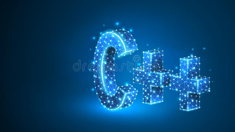 C plus cyfrowanie j?zyka znak Przyrz?d, programowanie, rozwija poj?cie Abstrakt, cyfrowy, wireframe, niska poli- siatka ilustracja wektor