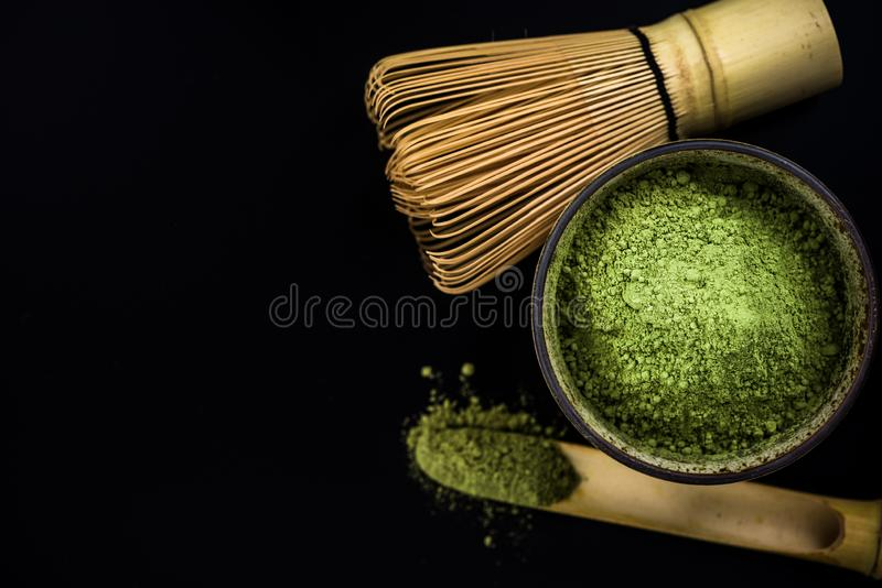 C?r?monie de th? vert de Matcha images libres de droits