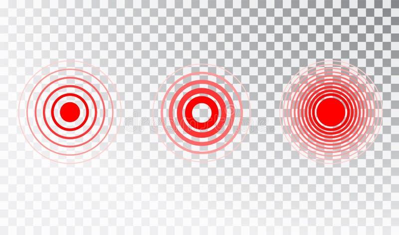 C?rculo da dor ou ?cone vermelho da localiza??o da dor Grupo de símbolos isolado vetor do círculo da dor para o pacote do comprim ilustração do vetor
