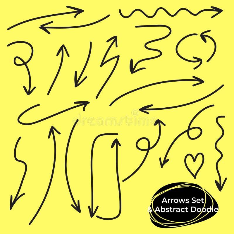 C?rculos de las flechas y sistema abstracto del vector del dise?o de la escritura del garabato fotos de archivo