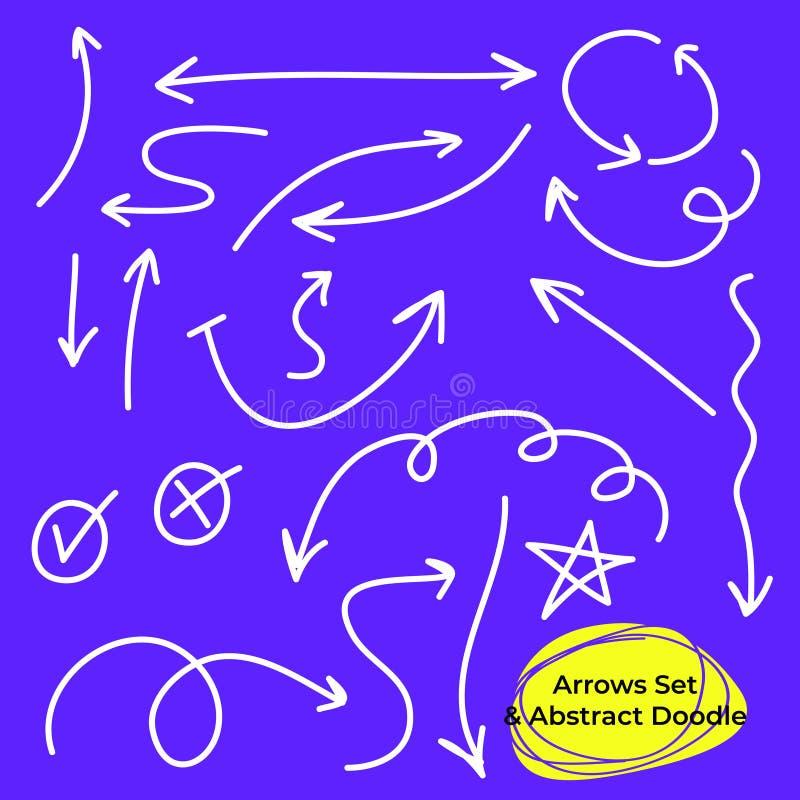 C?rculos de las flechas y sistema abstracto del vector del dise?o de la escritura del garabato foto de archivo