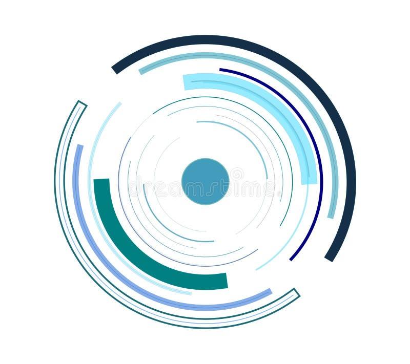 C?rculos futuristas da tecnologia em um fundo branco ilustração do vetor