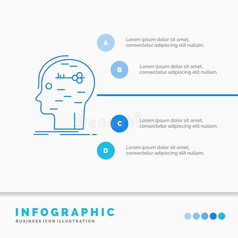 c?rebro, corte, corte, molde chave, da mente de Infographics para o Web site e apresenta??o Linha vetor infographic do estilo do  ilustração do vetor
