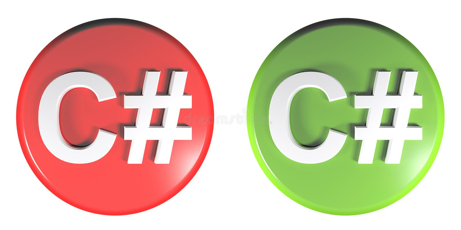 C# red and green circle push buttons - 3D rendering illustration. Two circle push buttons, red and green, isolated on white background, with the write C++ - 3D royalty free illustration