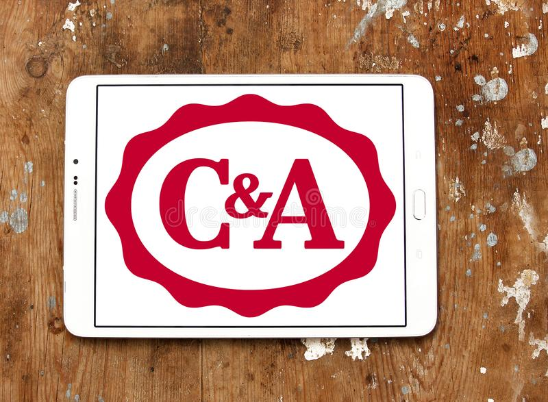 C&A retailer logo. Logo of C&A retailer on samsung tablet. C&A is an international chain of fashion retail clothing stores, with European head offices in royalty free stock image