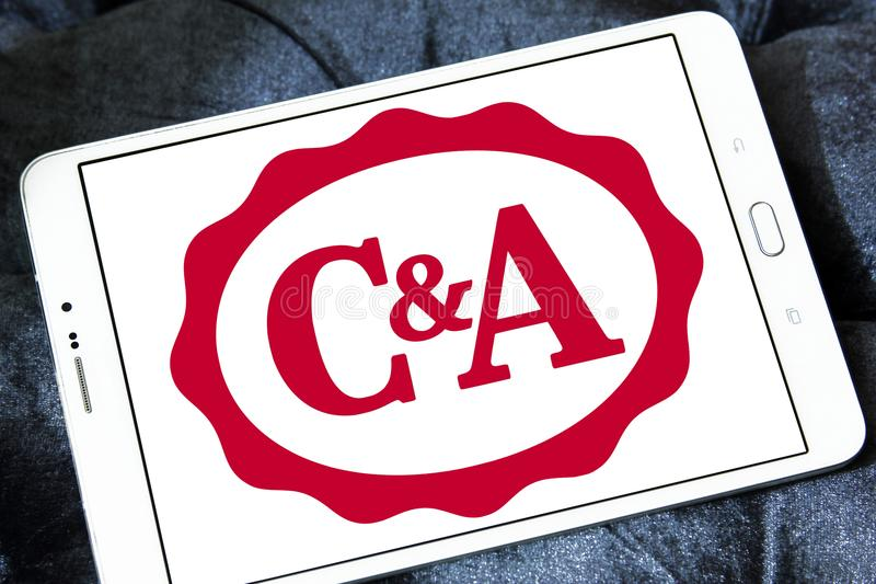 C&A retailer logo. Logo of C&A retailer on samsung tablet. C&A is an international chain of fashion retail clothing stores, with European head offices in royalty free stock photography