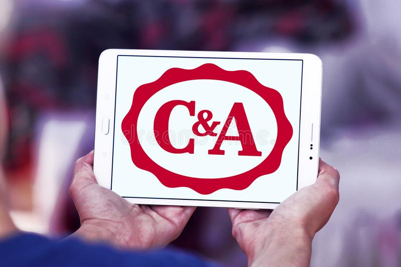 C&A retailer logo. Logo of C&A retailer on samsung tablet. C&A is an international chain of fashion retail clothing stores, with European head offices in stock photos