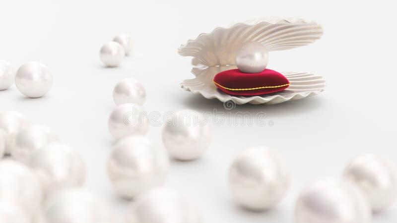 C?scara del mar con la perla en una almohada roja suave del terciopelo con un movimiento del oro Perla hermosa, joyer?a costosa p ilustración del vector
