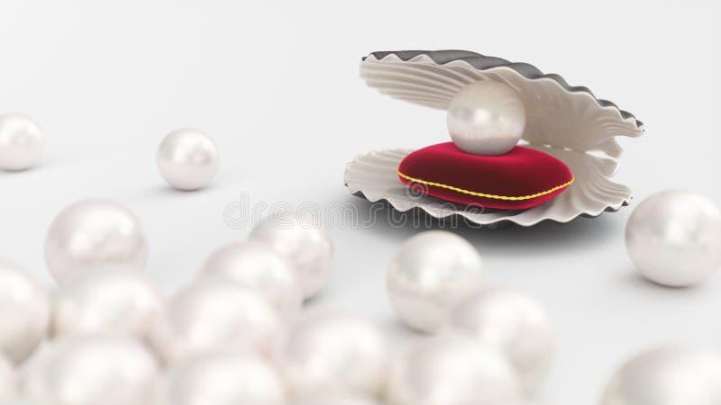 C?scara del mar con la perla en una almohada roja suave del terciopelo con un movimiento del oro Perla hermosa, joyer?a costosa p stock de ilustración