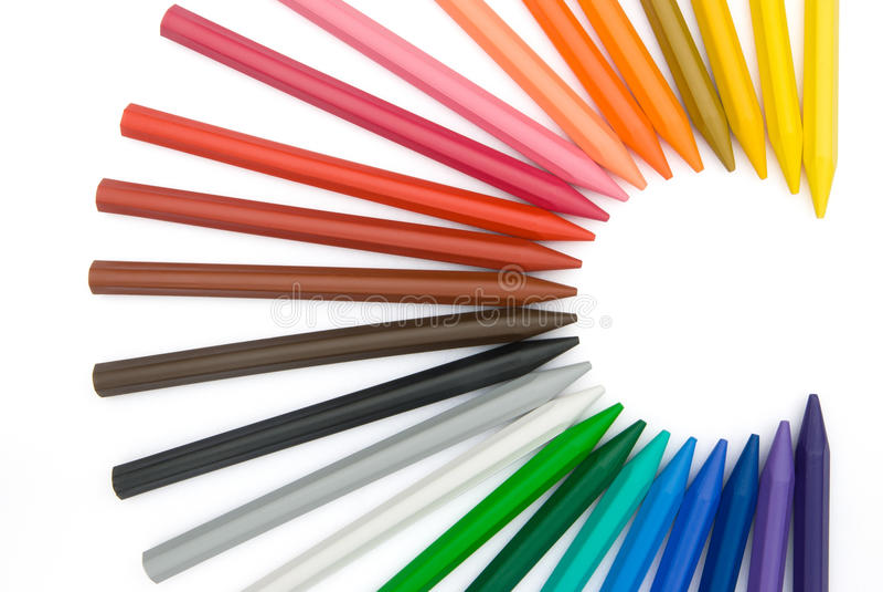 C shape 24-color crayons. 24-color crayons shape as letter C stock photos