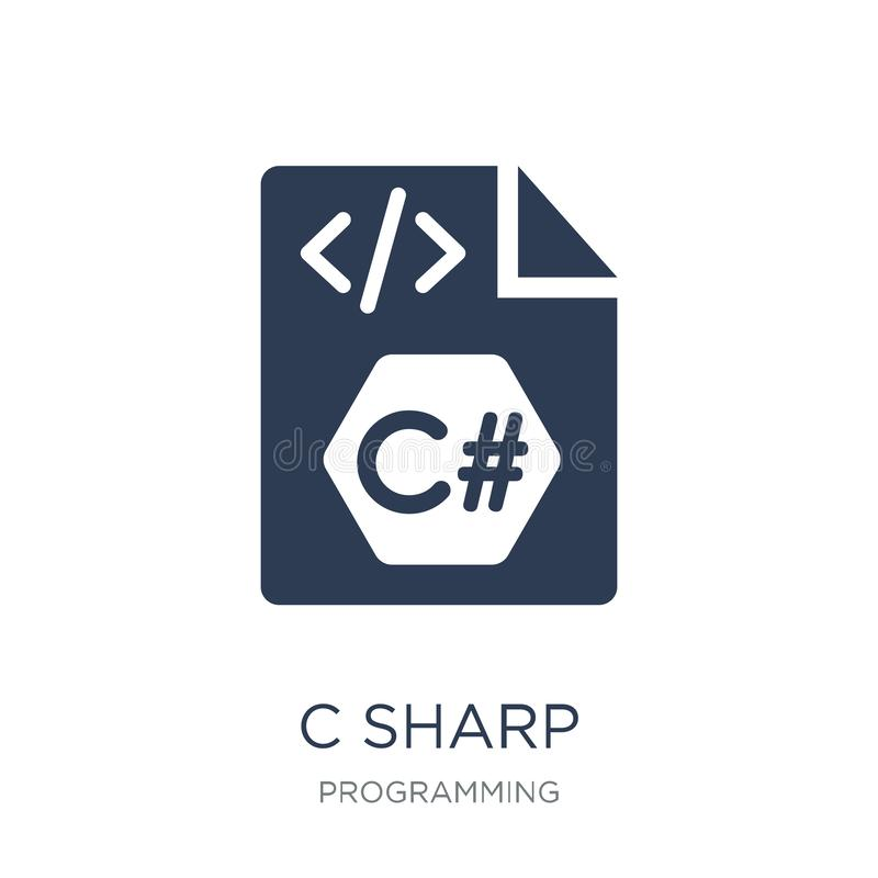 C sharp icon. Trendy flat vector C sharp icon on white background from Programming collection royalty free illustration