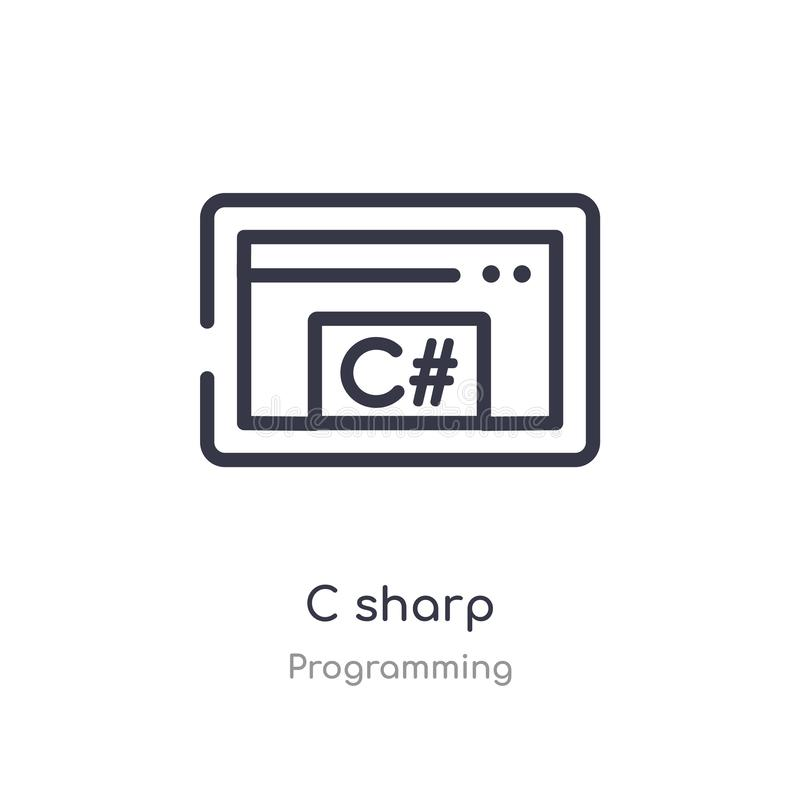 c sharp outline icon. isolated line vector illustration from programming collection. editable thin stroke c sharp icon on white stock illustration