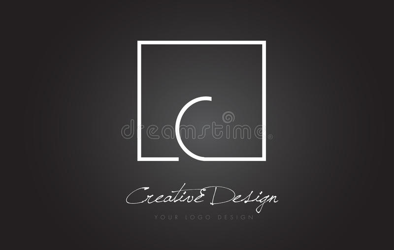 C Square Frame Letter Logo Design with Black and White Colors. stock illustration