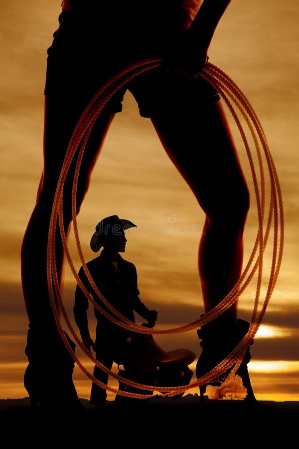 Côté de corde de jambes de femme de silhouette photos libres de droits