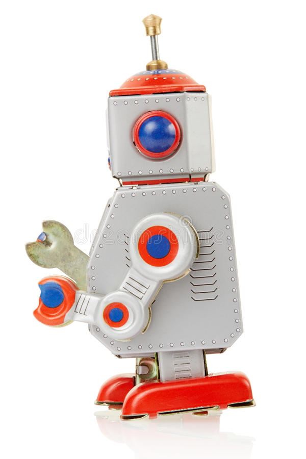 Côté de jouet de vintage de robot photographie stock libre de droits