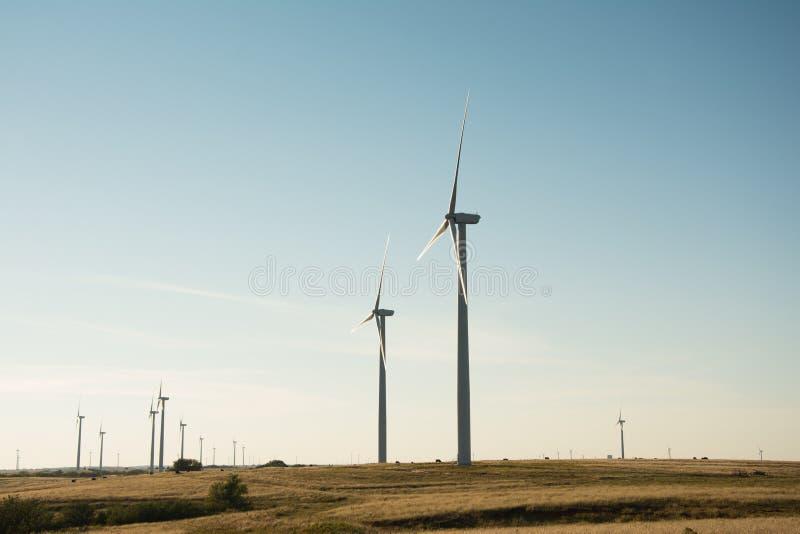 Côté de moulins de vent allumé image libre de droits