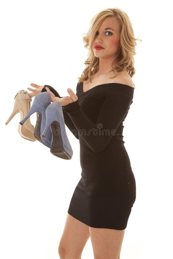 Côté noir de chaussures élégantes images libres de droits