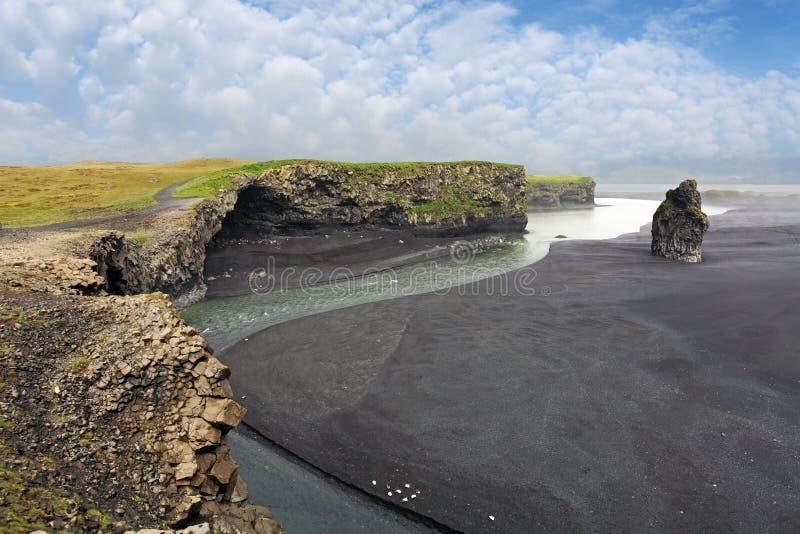 Côte du sud de l'Islande - du Dyrholaey photographie stock libre de droits