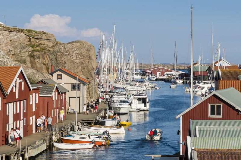 Côte ouest Suède de port d'invité de Smögen photo stock