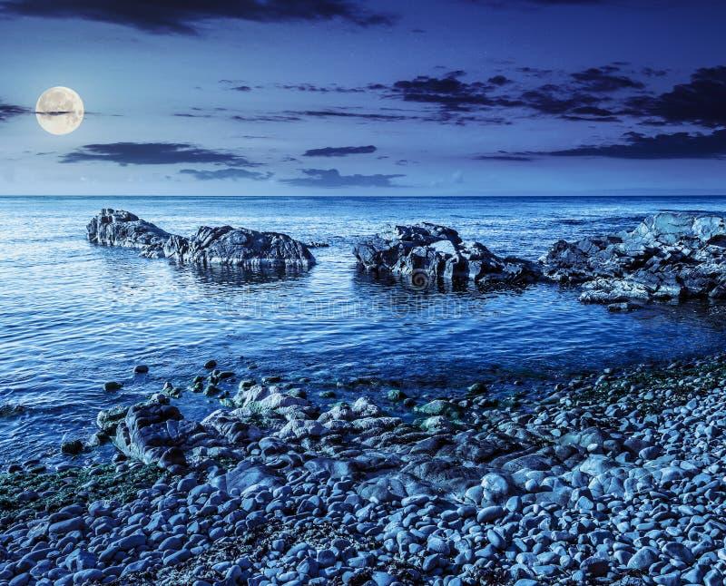 Côte rocheuse avec l'algue la nuit photos stock