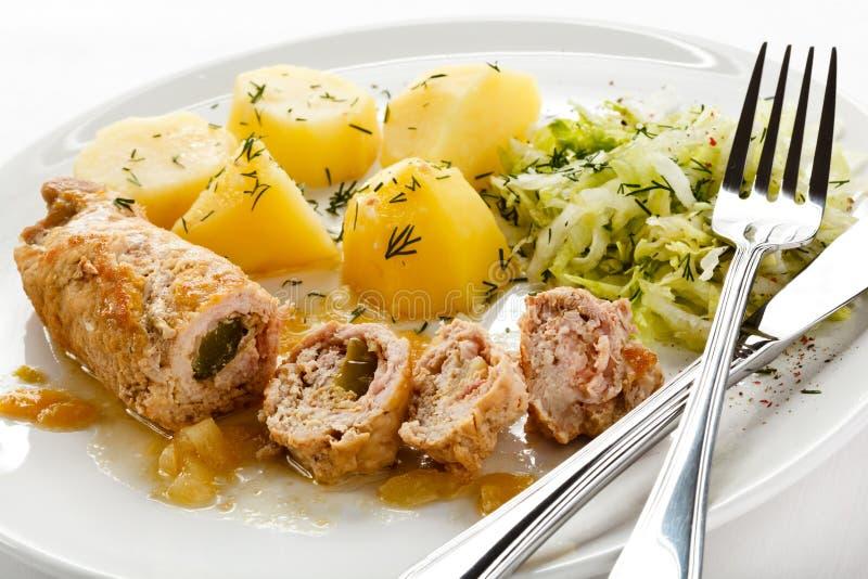 Côtelette et légumes de porc photos libres de droits