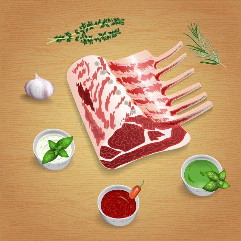 Côtelettes d'agneau organiques brutes avec des herbes et des sauces sur le conseil illustration stock