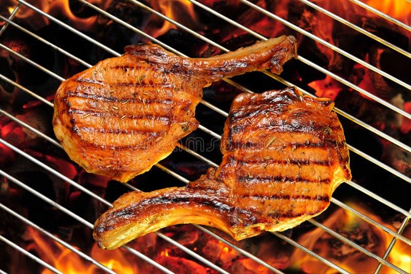 Côtelettes de porc grillées photos libres de droits